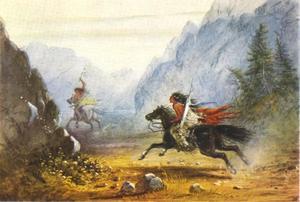 Een Snake Indiaan achtervolgt een Crow Indiaan die een paard heeft gestolen