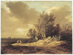 Landschap met een boederij omringd door bomen