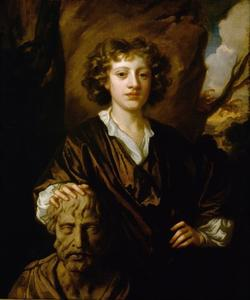 Portret van Bartholomew Beale (1656-1709), met de buste van Homerus