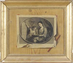Trompe l'oeil met een gravure van S. Le Clerc