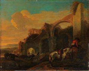 Italianiserend landschap met een ruiter, paarden en vee bij een ruïne