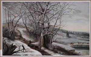 Winterlandschap met houthakkers, rechts een brug, op de achtergrond twee vossen