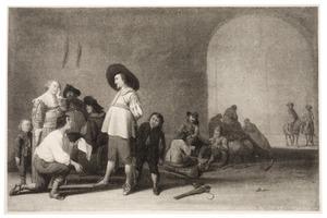 Wachtlokaal met een smekeling en zijn gezin voor een officier