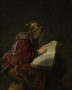 Een lezende oude vrouw, waarschijnlijk de profetes Hannah