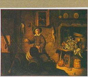Boereninterieur met een jongen bij tonnen met op de achtergrond, voor een schouw, waarvoor een tafel staat met daarop Westerwald kannen, aardewerk en koperen vaatwerk en manden
