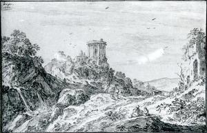 Fantasiegezicht met de tempel van de Sibylle in Tivoli