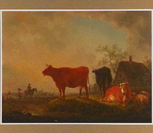Landschap met drie koeien en drie herders
