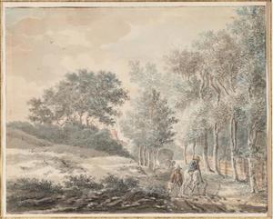 Figuren op een pad bij herberg 'De Geleerde Man' te Bennebroek