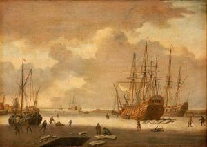 Walvisvaarder en andere schepen ingevroren in het ijs