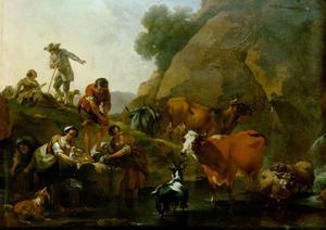 Koeherders en wasvrouwen aan het water