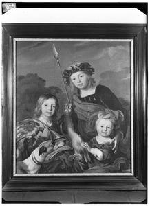 Portret van drie kinderen in jachttenue, voorheen geïdentificeerd als Joseph, Aernout en Anna Druyvesteyn