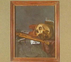 Vanitasstilleven met schedel, gebroken roemer, boeken, tokkelinstrument en rookgerei