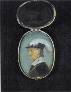 Portret van Christiaan IV, en profil met gevederde hoed