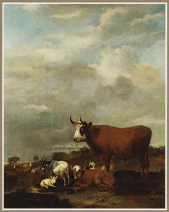 Landschap met koeien en geiten