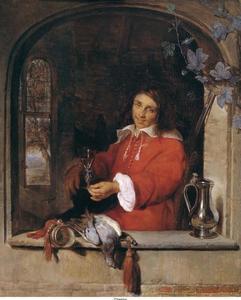 Jager met een wijnglas in een venster