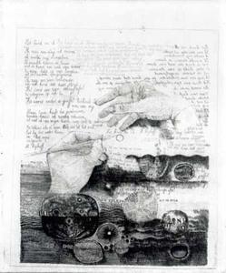 Twee handen, schelpen en tekst van het gedicht ´Het kind en ik´ van Martinus Nijhoff