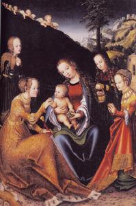 Maria met kind en de HH. Catharina, Margaretha, Dorothea en Barbara met engelen