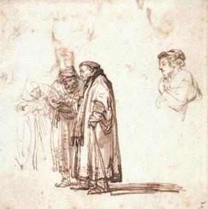 """Studie voor de drie schriftgeleerden in """"De prediking van Johannes de Doper"""" en een schets van een vrouwenbuste (recto)"""