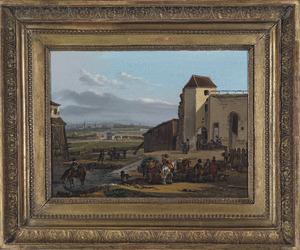 Rustende soldaten bij een vestingmuur