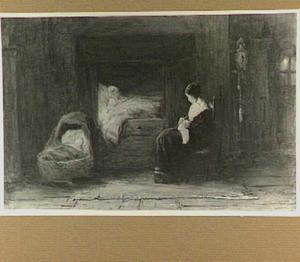 Interieur met kind en zieke moeder