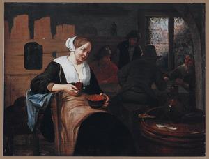 Jonge vrouw met papkom in een herberg