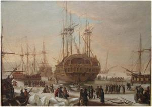 De Deense vloot wordt voor de uitvaart naar Algiers uit het ijs losgemaakt
