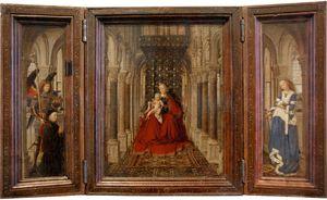 H. Michael met stichter (linkerluik), tronende Maria met kind (middenpaneel), de H. Catharina (rechterluik)