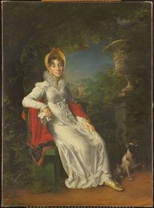 Portret van Carolina Ferdinanda Louise van Sicilië (1798-1870), echtgenote van Karel Ferdinand, hertog van  Berry, in het park van Bagatelle in het Bois de Boulogne bij Parijs