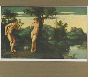 Adam accepteert het fruit van Eva in het paradijs (Genesis 3:6)