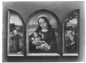 De H. Franciscus ontvangt de stigmata (links), Maria met kind (midden), de H. Hieronymus in de wildernis (rechts)
