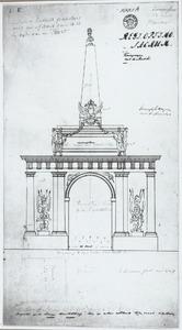 Ontwerp voor een feestdecoratie bestaande uit een triomfboog met obelisk
