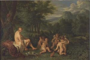 Venus en putti in een landschap