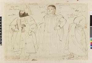 Studie van drie figuren in Oosterse kledij