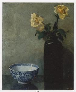 Stilleven met gele rozen