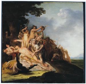 Orfeus wordt door Thracische Bacchanten aan stukken gerukt (Ovidius, Metamorfoses, XI,II.1-43)