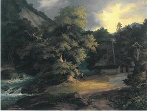 Boslandschap met stenen hut met schoorsteen
