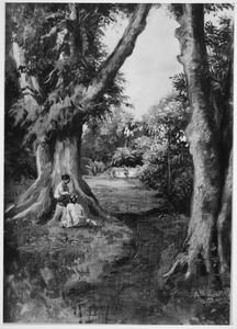 Oosters boslandschap met zittende vrouw
