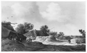 Duinlandschap met weg langs enkele boerderijen