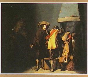 Rokende en kaartende soldaten bij een schouw in een wachtlokaal