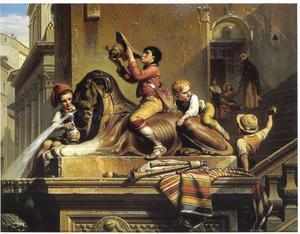 Spelende jongens op den Egyptischen Leeuw van het Capitool te Rome