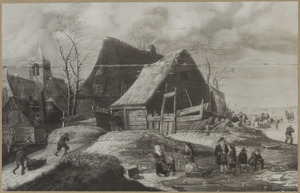 Winterlandschap met dorpsgezicht