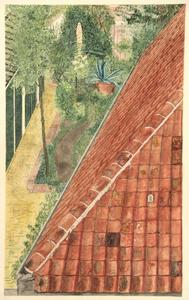 Gezicht in een tuin vanaf een dak