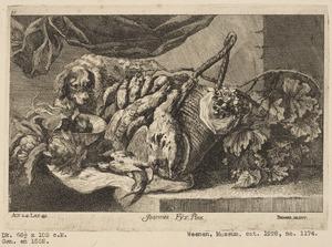 Stilleven met dode vogels, fruit en een jachthond