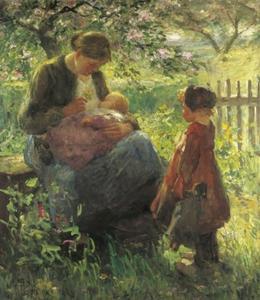 Moeder met kinderen onder een bloesemboom