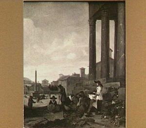 Marktlieden op een plein met een antieke tempel