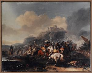 Een ruitergevecht in een bergachtig landschap