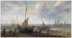Kustlandschap met schepen