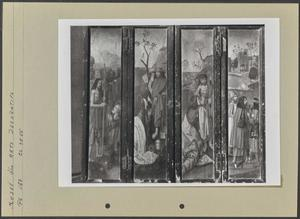 De HH. Catharina (buitenzijde linkerluik); De H. Piatus (buitenzijde linker bovenluik); De HH. Barbara (buitenzijde rechterluik); De H. Eleutherius (buitenzijde rechter bovenluik)