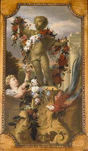 Putto als tuinbeeld met bloemenslinger en papegaai
