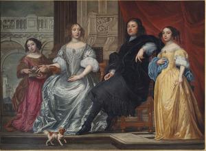 Familieportret van een onbekende echtpaar en hun twee dochters
